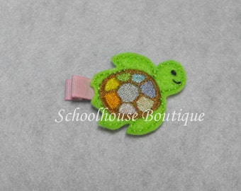 Multi Color Sea Turtle Felt Hair Clips, Felties, Feltie Hair Clip, Felt Hair Clip, Felt Hair Clippie, party favor