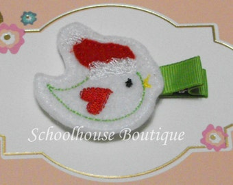Christmas Song Bird Felt Hair Clips, Stocking Stuffer, feltie hair clip, party favor, felt hair clip, felt clippie