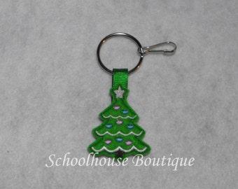 Christmas Tree Felt Zipper Pull, Felt Keychain Fob, Felt Key Ring, Felt Key Fob, Purse Accessory, Luggage Tag