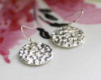 Silver Disc earrings,  Handmade Silver earrings, Large silver earrings, Drop earrings, Long earrings, Hammered earrings, Silver jewelry