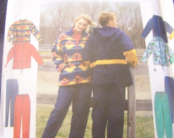 Simplicity 8322 UNCUT sewing patterns, sizes XS-M, mens, womens, teens, jacket, pants outerwear,supplies