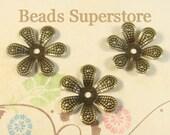 17 mm Antique Bronze Bendable Flower Bead Cap - Nickel Free - 25 pcs