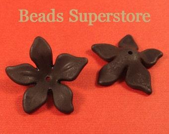 29mm x 8mm Black Lucite Flower Bead - 10pcs