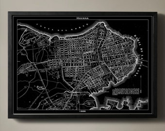 HAVANA Map Print, Black and White Wall Decor