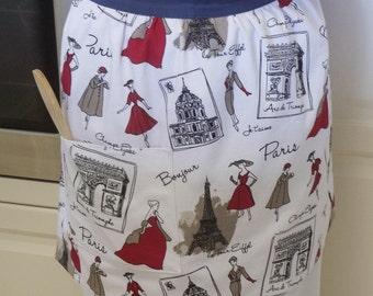 Retro Half Apron Paris, women French Paris 50s fashion print apron, lined kitchen hostess apron/pinny with pocket, Mum apron gift, Paris Red