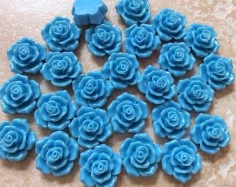 10 pcs 16 mm Blue Cabochon Flowers,16 mm blue resin flower, flower kit, 16 mm cabochon,blue rose cabochon,blue cabochon flower, flower kit