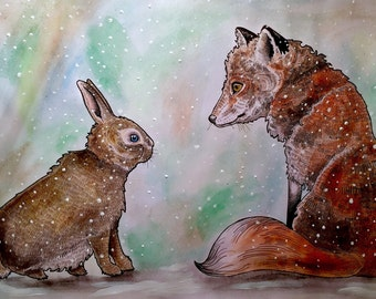 A4 print, illustration of 'the fox and the hare'
