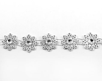 "Silver Flower Beaded Trim 3/4"" (pack of 10 yards)"