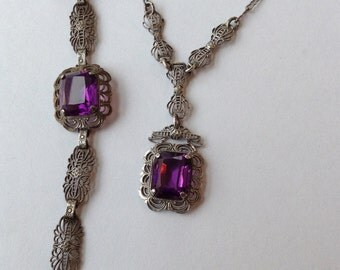 Necklace Lariat and Bracelet Sterling Filigree Set  Purple Amethyst Stone