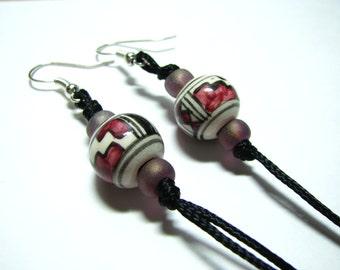 Ceramics earrings, White and burgundy earrings, Burgundy earrings.Earrings, Homemade jewelry,Homemade earrings,Long earrings,Dangle earrings