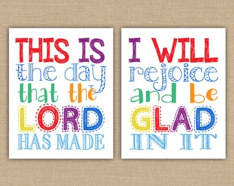 This is the day that the Lord has made.  I will rejoice and be glad in it. Playroom sign Nursery decor Christian Children Bible Art