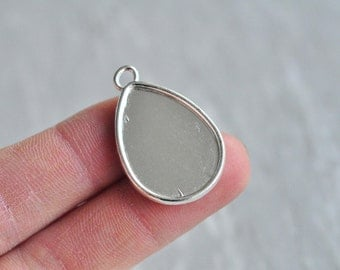 12pcs 25x18mm Pad Silver Plated Teardrop Cameo Cabochon Base Settings Tear Drop Water Drop Match PP732