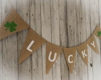 Lucky Garland Shamrock Banner Lucky Banner Lucky Bunting St Patricks Day Banner Shamrock Bunting Shamrock Garland St Patricks Day Decor