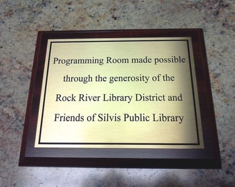 Personalized award plaque cherry finish 6x8 inches with brushed gold aluminum plate