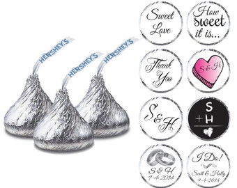 PRINTABLE Wedding Hershey Kiss Labels - Personalized Wedding Favors