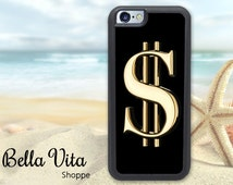 Dollar Sign iPhone 5C Case, Bling iPhone 5C Case, Golden Dollar Sign iPhone Case, Gold Dollar Sign