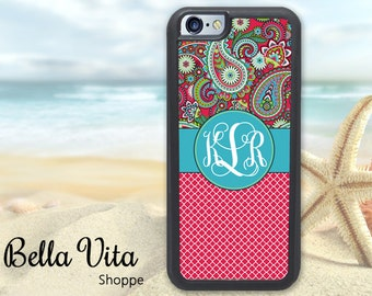 Pretty Paisley iPhone 5C Case, Monogrammed iPhone 5C Case, Personalized iPhone 5C Case