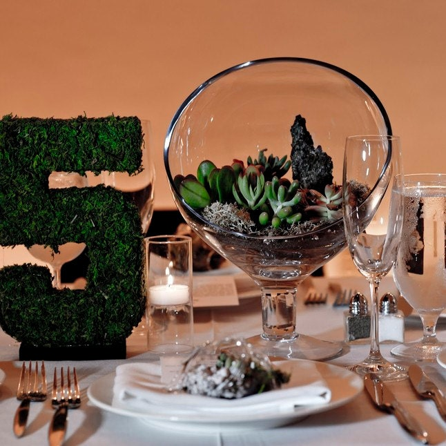 moss table numbers wedding decor moss centerpiece