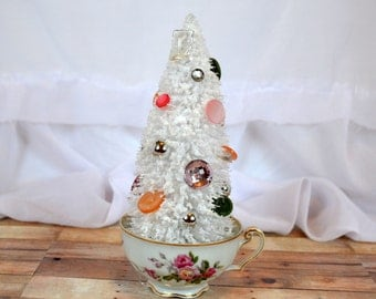 Vintage Spring Rose shabby chic teacup with white Christmas xmas bottle brush tree and button ornament