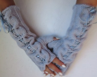 fingerless gloves, Knitted light gray fingerless, gray satin ribbon, long gloves Fingerless, Half Gloves with Cable, winter accessories,