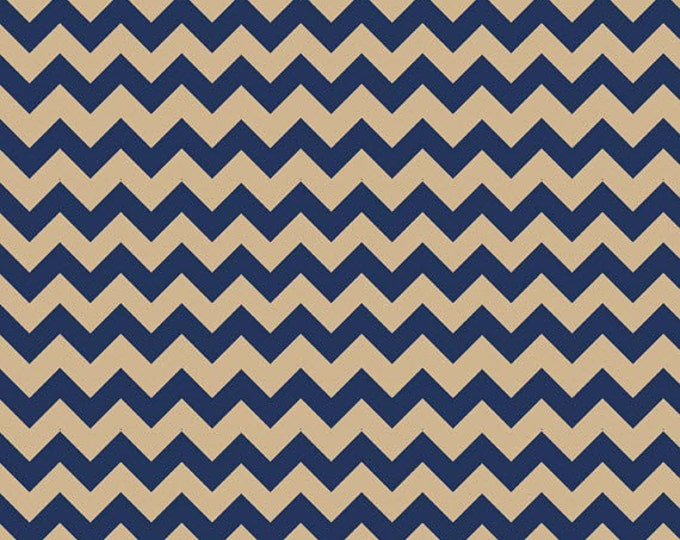 One Yard Small Chevron - Tone on Tone in Navy and Tan - Cotton Quilt Fabric - C400-25 - Riley Blake Designs (W2494)