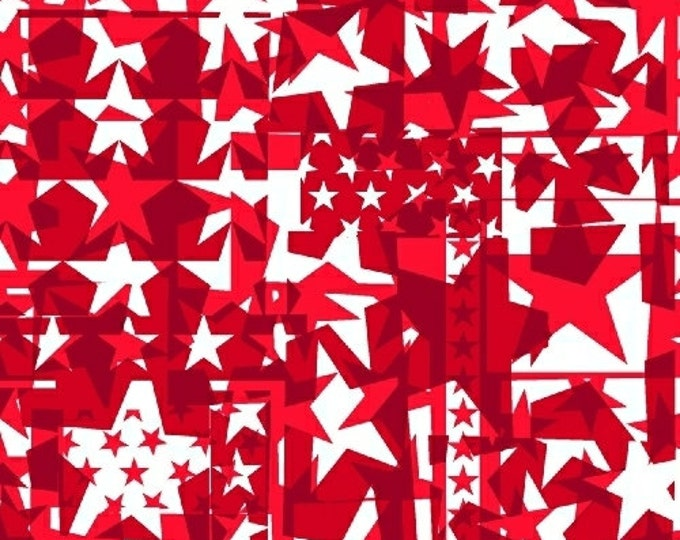 Half Yard U.S.A. - Star Collage in Red - Cotton Quilt Fabric - Whistler Studios and Windham Fabrics - 40331-3 (W2616)