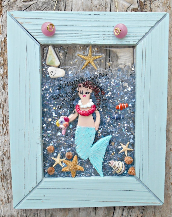 Mermaid art mermaid wall decor coastal decor by lookandsea for Anchor decoration runescape