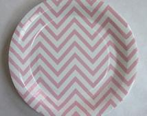"Pink chevron paper plates - 9"" light pink - 12pcs - PP1005"