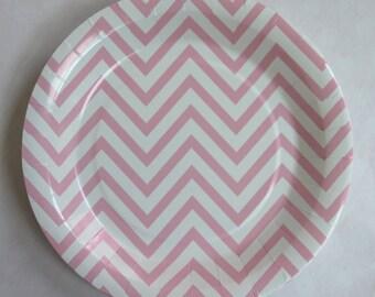 Pink chevron paper plates - 9  light pink - 12pcs - PP1005 & Paper plates 9 Polka Dot-pkg10