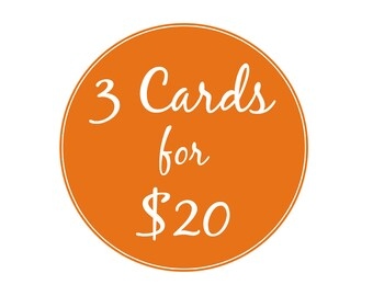 3 PACK - Choose any 3 5x7 Paper Cut Greeting Cards