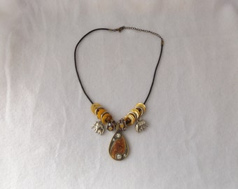 Sale - 50% OFF Lampwork Rondelles, Gold Plated Brass and Enamel Pendant Necklace With Silver Charms, Yellow Mother of Pearl