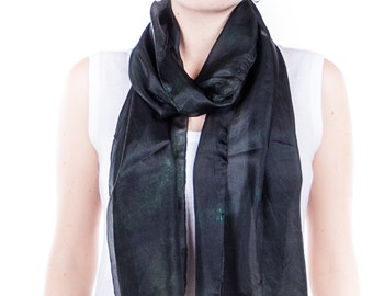 black and green scarf / green and black pongee scarf  /  Hand dyed / 100% pongee silk