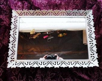 Rectangular Metal MIRROR Vanity Tray- Dresser Tray- Decorative Metal Tray with Mirrored Bottom- Dainty Vanity Accessory- Simply Shabby Decor