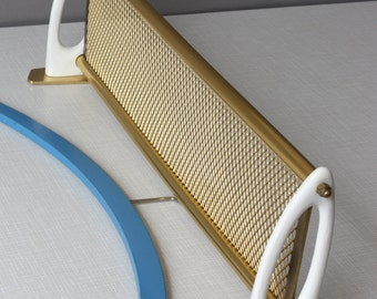 Small wall shelf 50s 60s / vintage tray metal mesh / wall decor / Mid Century board / console / ivory gold / Germany / gift friend