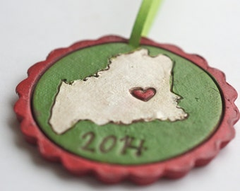 Custom State Christmas Ornament Personalized Christmas folk art ornament