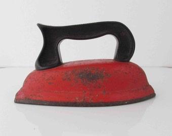 Rustic Toy Iron Metal & Plastic Tomato Red/ Burnt Orange Vintage Toy