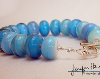 CALM SEAS beautiful lampworked glass bracelet - Jenefer Ham