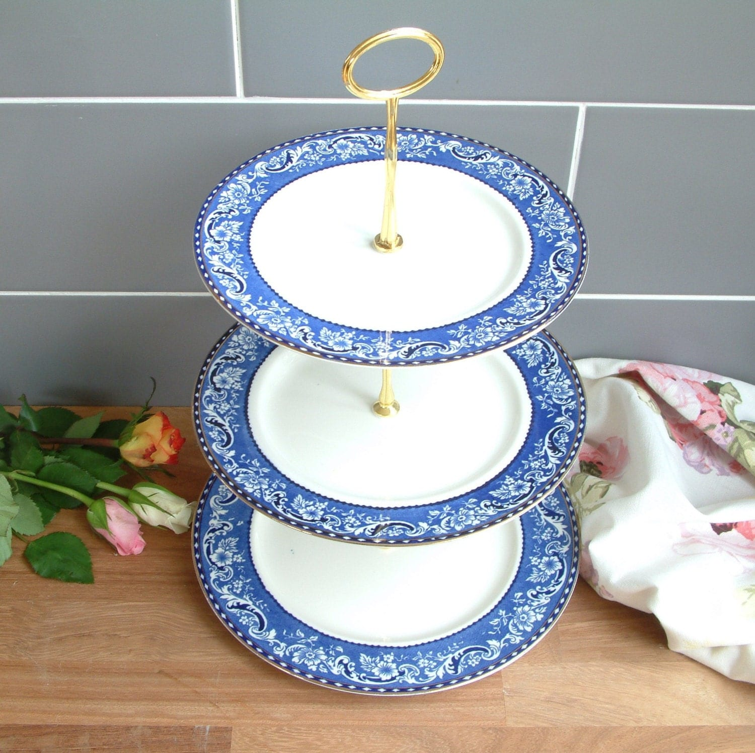 Beautiful vintage plates cake stand 3 tier by paintedsongbird for Beautiful cake stands