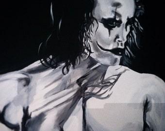 The Crow Brandon Lee original Acrylic Pop Art Painting 20x16