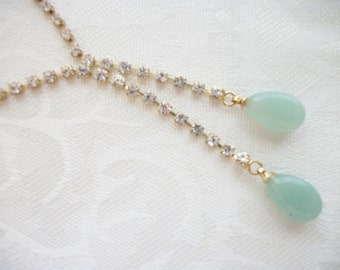 Vintage Clear Rhinestones Jade Green Glass Lariat Necklace Designer Gift Collectable