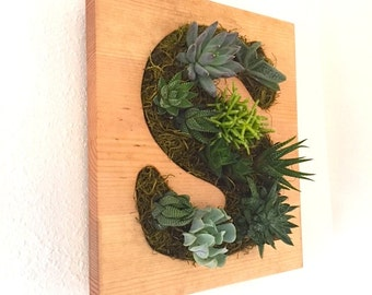 CUSTOM COLOR: Initial Succulent + Cacti Vertical Garden | Vertical Planter | Living Wall | Wall Planter | Hanging Planter | Wood Plan