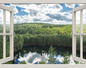 3D window wall decal NORTHERN FOREST LAKE wall decal, for living room,bedroom,office, vinyl stickers,vinyl decal, 3d decal