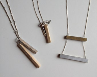 Wood and silver Make a wish necklace