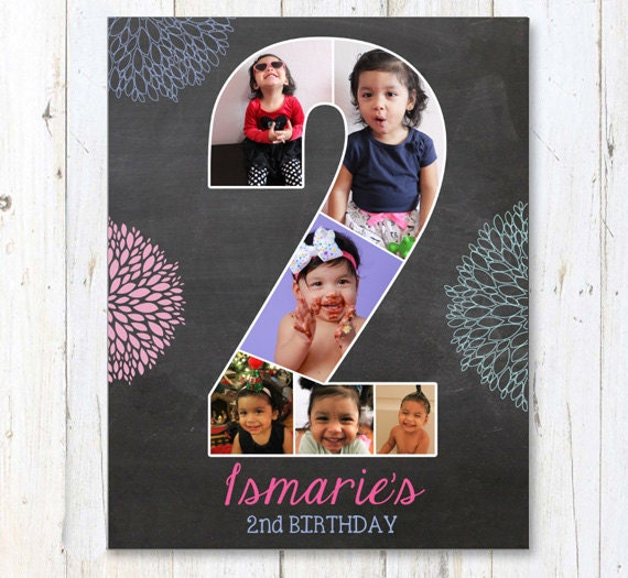 Second Birthday Chalkboard Collage Sign 2nd By LillyLaManch