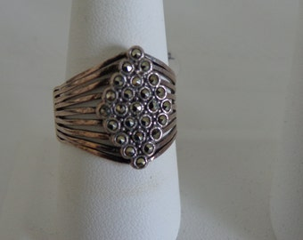 Sterling Silver and Marcasite Diamond Pattern Band Ring size 9 3/4
