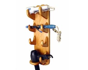 Bathroom Organizer   Flat Iron Holder  2 Curling Iron  Hair Dryer Holder