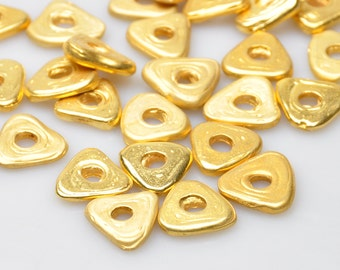 2 Pieces Gold Plated Spacer Beads, Jewelry Findings, Jewelry Making Supply