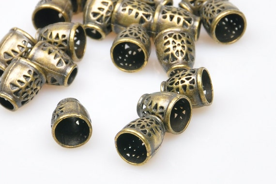 Pieces matte rustic bronze cone end bead caps jewelry