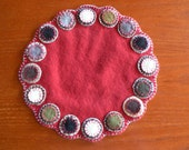 Red Wool Penny Candle Mat