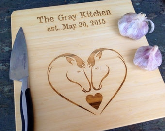 Wedding Day Present: Personalized Cutting board for you and your sweetie! Two horses in love, animal love